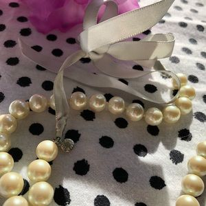J. Crew Pearl necklace with ribbon